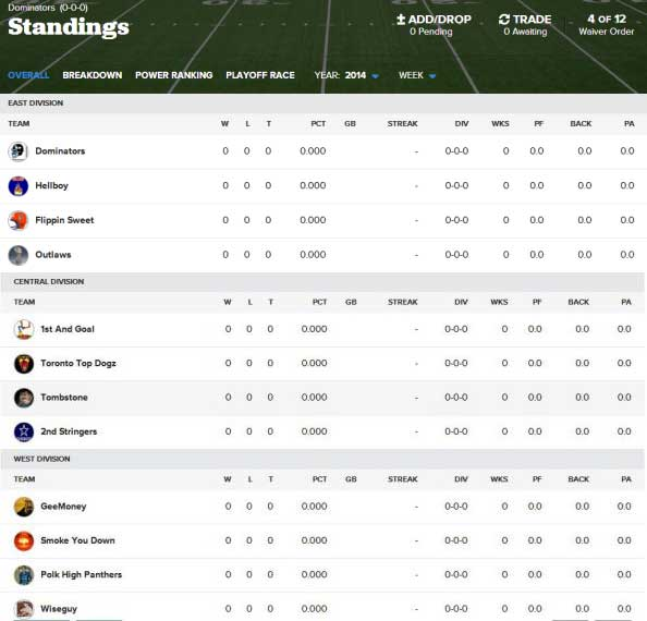 Sample NFL Keeper Standings